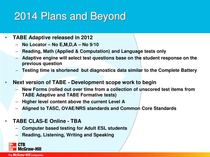 TABE Adaptive released in 2012