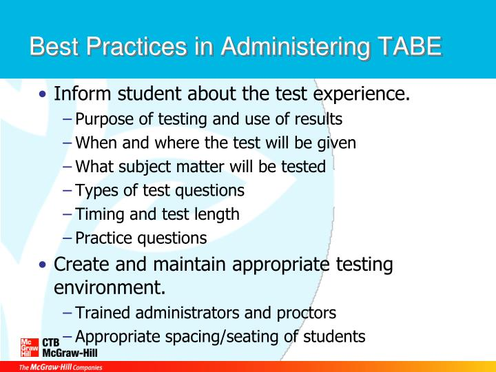 Best Practices in Administering TABE