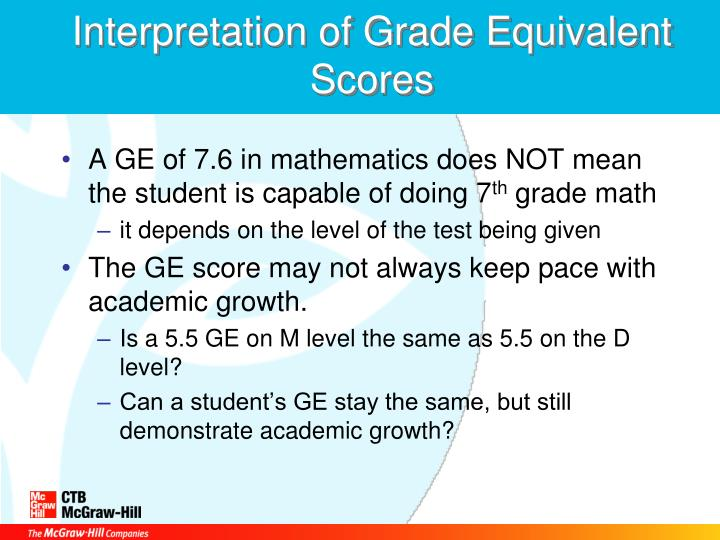 Interpretation of Grade Equivalent Scores