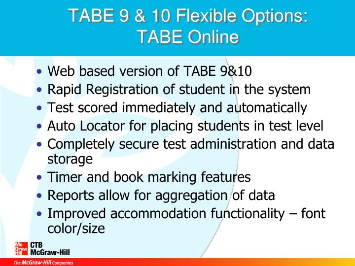 TABE 9 & 10 Flexible Options:  TABE Online