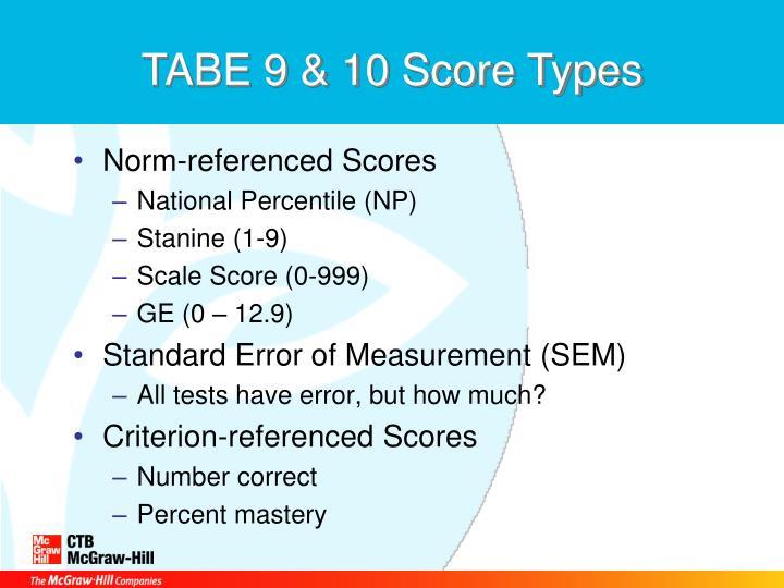 TABE 9 & 10 Score Types