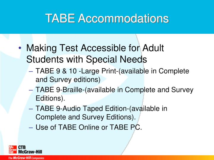 TABE Accommodations