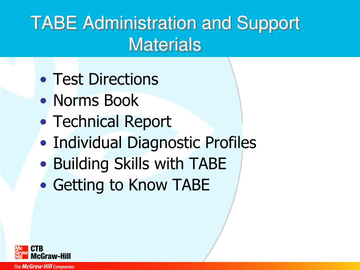 TABE Administration and Support Materials