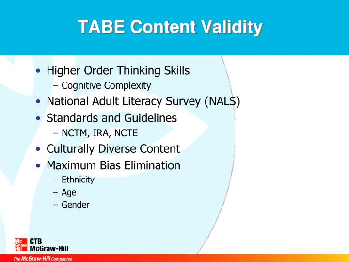 TABE Content Validity