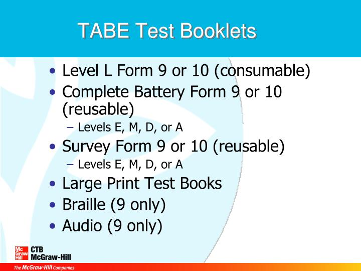 TABE Test Booklets