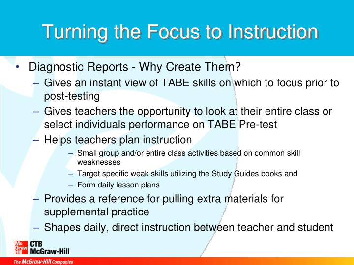 Turning the Focus to Instruction