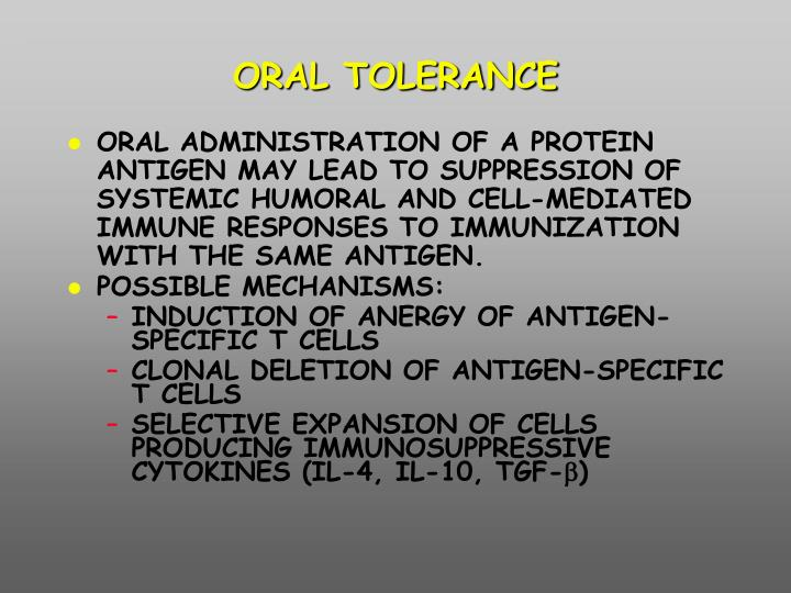 ORAL TOLERANCE