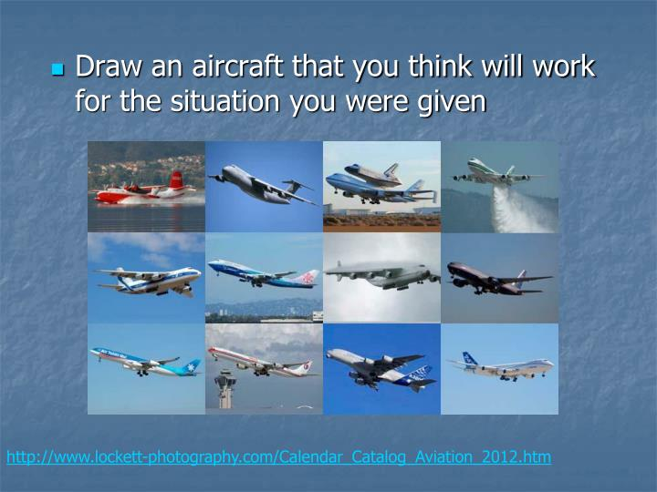 Draw an aircraft that you think will work for the situation you were given