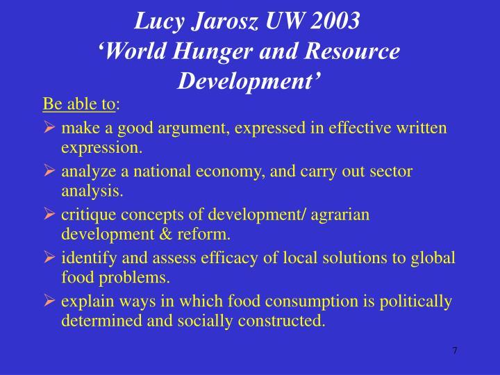Lucy Jarosz UW 2003
