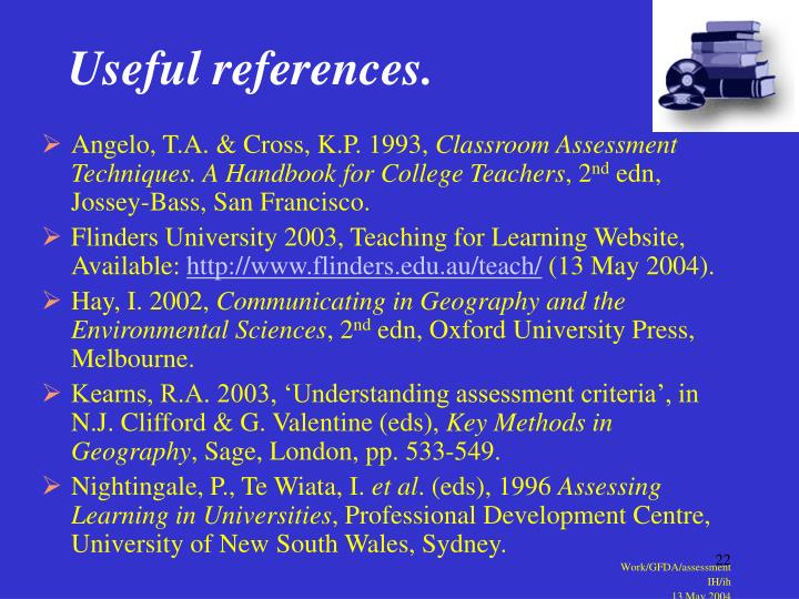 Useful references.