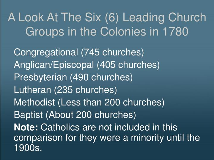A Look At The Six (6) Leading Church Groups in the Colonies in 1780