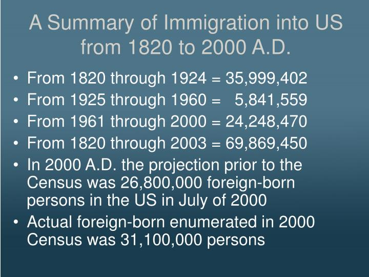 A Summary of Immigration into US from 1820 to 2000 A.D.