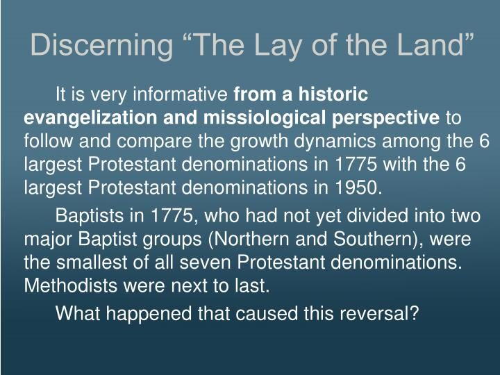 """Discerning """"The Lay of the Land"""""""