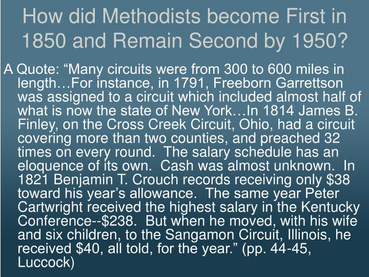 How did Methodists become First in 1850 and Remain Second by 1950?