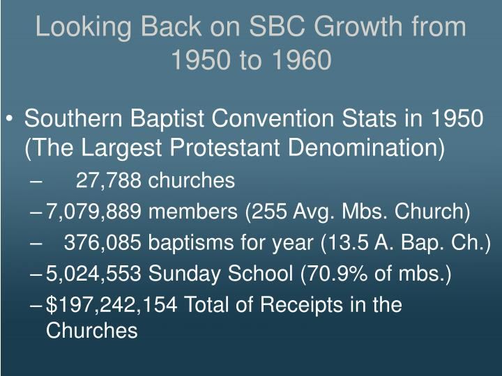 Looking Back on SBC Growth from 1950 to 1960