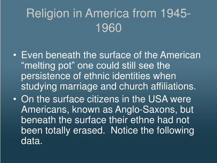 Religion in America from 1945-1960