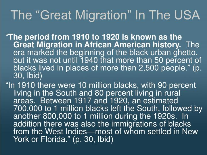 """The """"Great Migration"""" In The USA"""