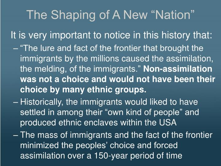 """The Shaping of A New """"Nation"""""""