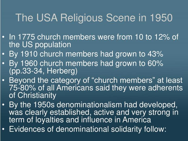 The USA Religious Scene in 1950