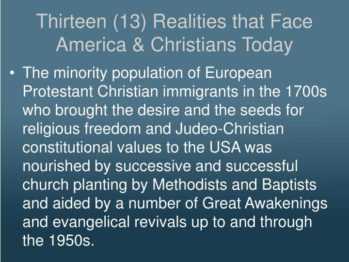 Thirteen (13) Realities that Face