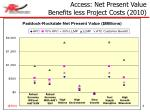 access net present value benefits less project costs 20101