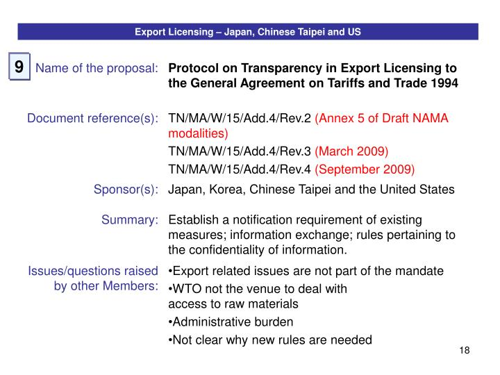 Export Licensing – Japan, Chinese Taipei and US
