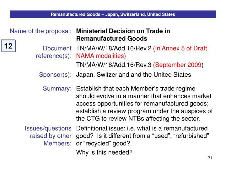Remanufactured Goods – Japan, Switzerland, United States
