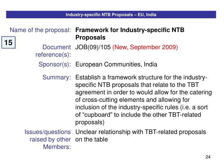 Industry-specific NTB Proposals – EU, India