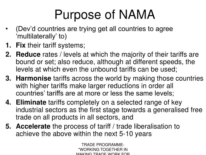 Purpose of NAMA