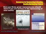resources for sponsoring a growing healthy multiplying church