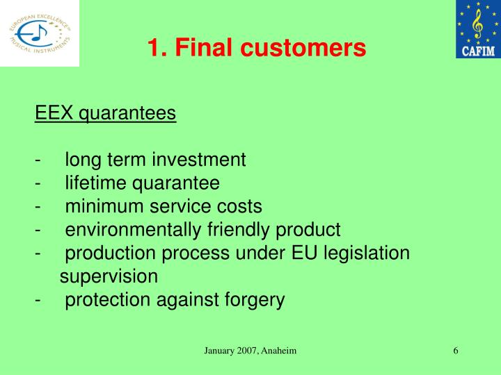 1. Final customers