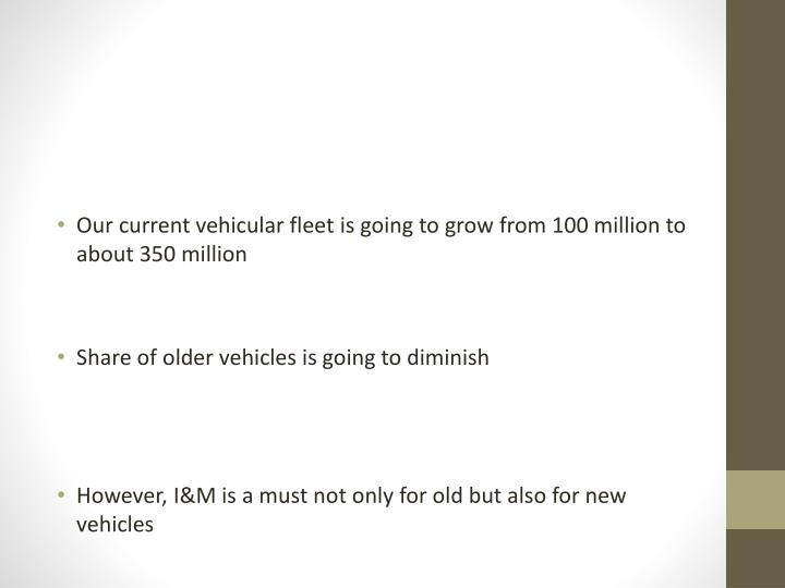 Our current vehicular fleet is going to grow from 100 million to about 350 million