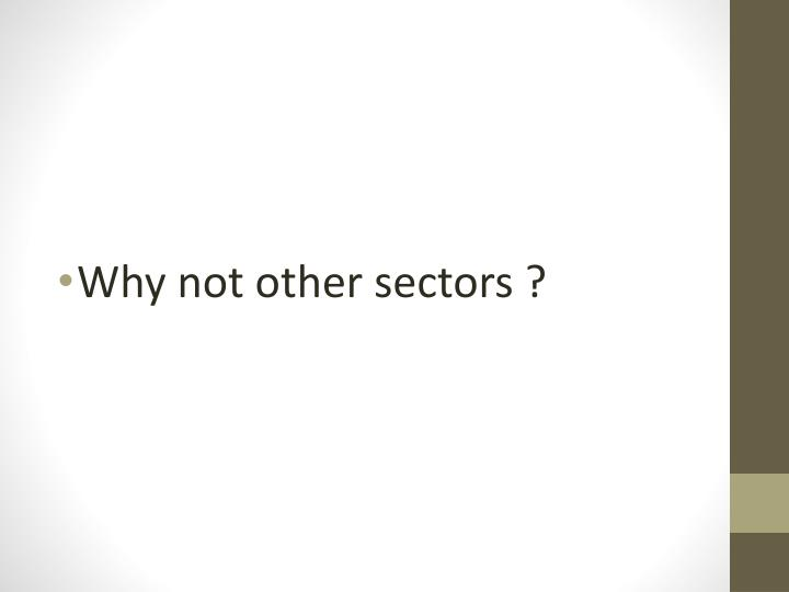 Why not other sectors ?