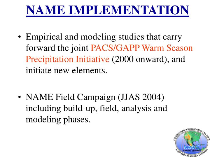 NAME IMPLEMENTATION