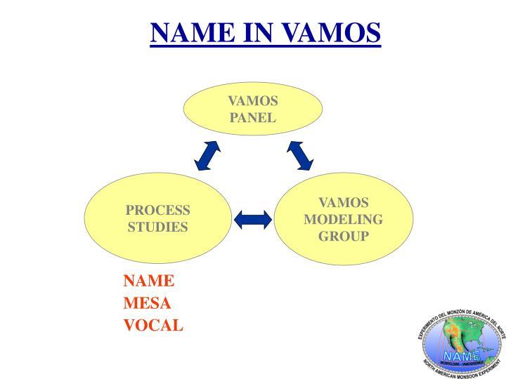 NAME IN VAMOS