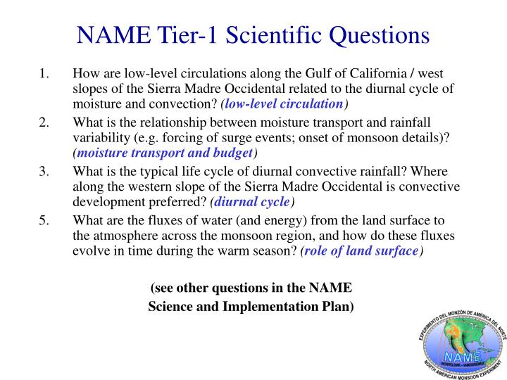NAME Tier-1 Scientific Questions