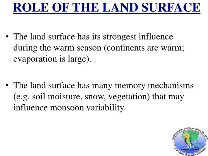 ROLE OF THE LAND SURFACE