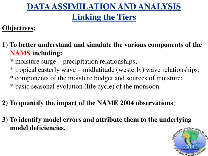 DATA ASSIMILATION AND ANALYSIS