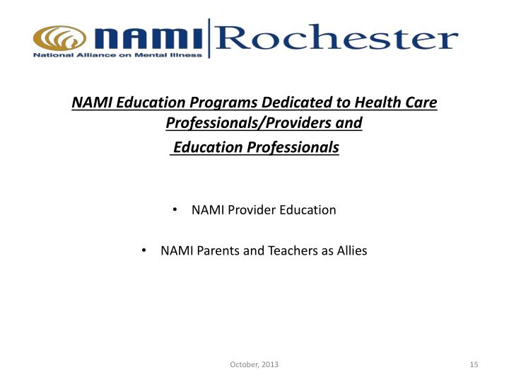 NAMI Education Programs Dedicated to Health Care Professionals/Providers and