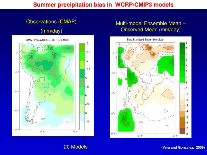 Summer precipitation bias in  WCRP/CMIP3 models
