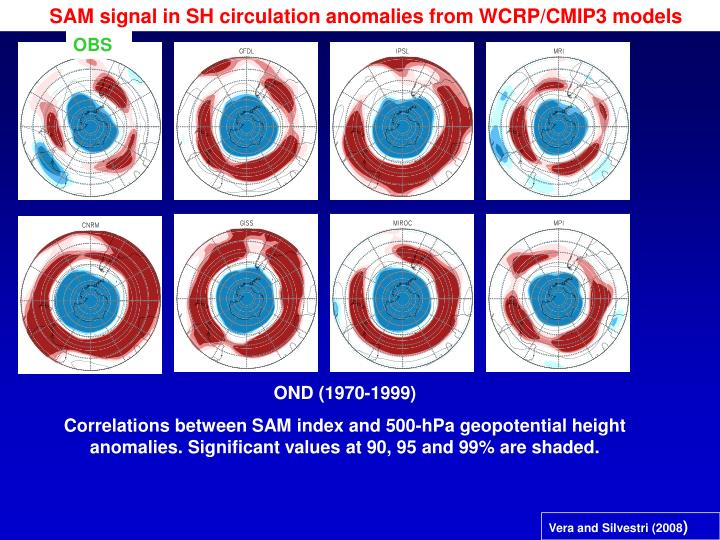 SAM signal in SH circulation anomalies from WCRP/CMIP3 models