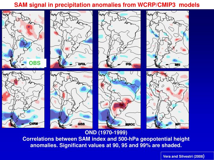 SAM signal in precipitation anomalies from WCRP/CMIP3  models