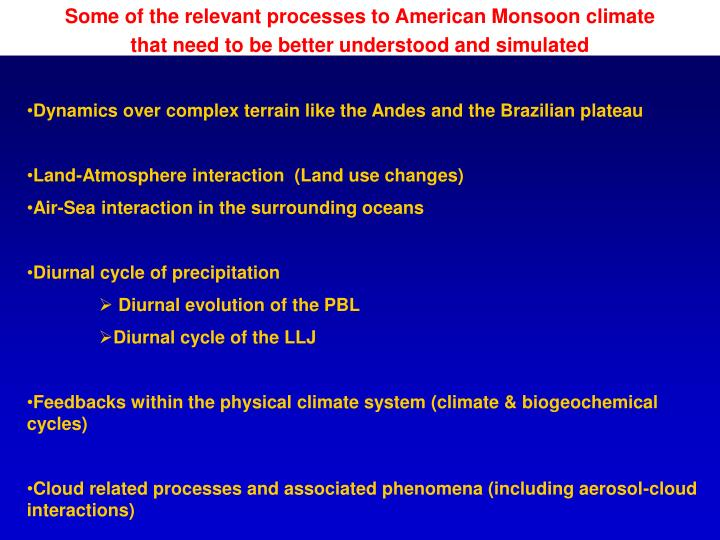 Some of the relevant processes to American Monsoon climate