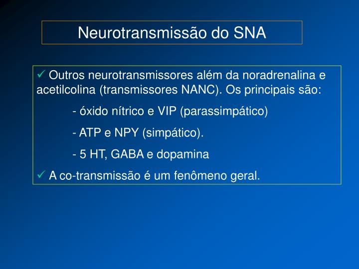 Neurotransmissão do SNA