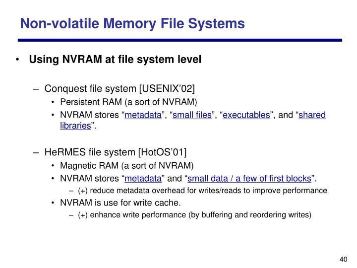 Non-volatile Memory File Systems