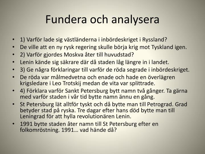Fundera och analysera