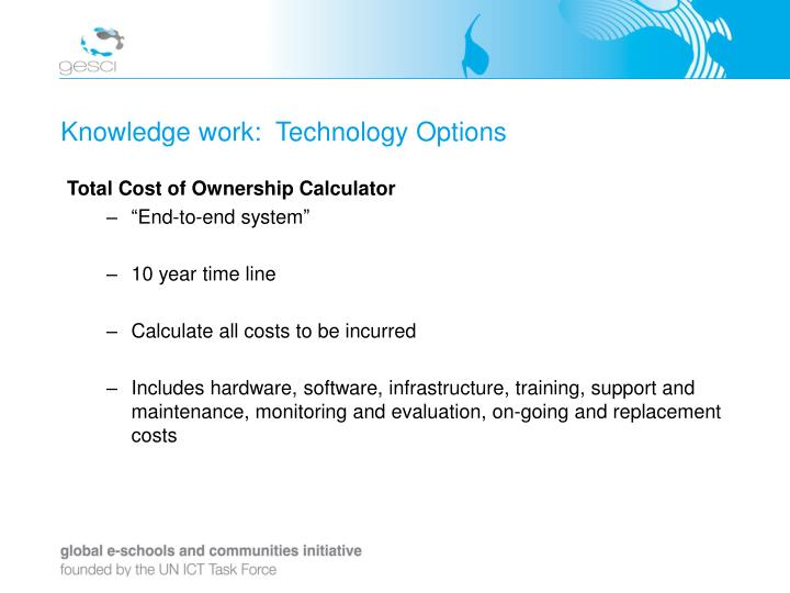 Knowledge work:  Technology Options