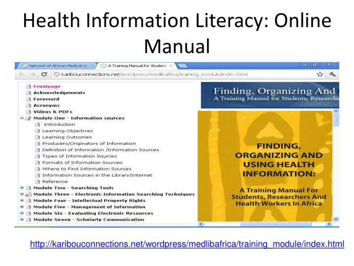 Health Information Literacy: Online Manual