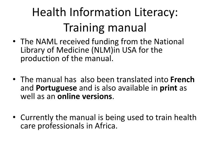 Health Information Literacy: Training manual