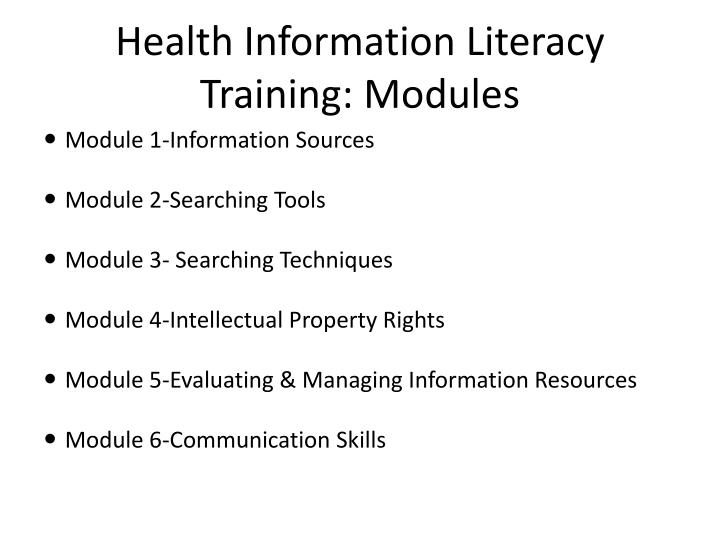 Health Information Literacy Training: Modules